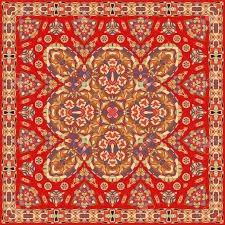 Persian Design Fabric Ancient Arabic Square Pattern Red Persian Ornament For Fabric