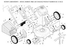 husqvarna r53 961310023 lawnmower product complete spare parts diagram