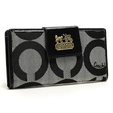 Coach In Signature Large Grey Wallets ARS