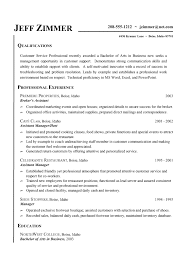Resume Examples, Resume Templates For Customer Service Representative Jeff  Zimmer Qualification Professional Experience Assistent Manager