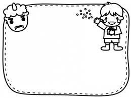 鬼と豆まきをする子供の白黒節分フレーム飾り枠イラスト 無料イラスト
