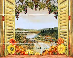 Mural Tiles For Kitchen Decor Vineyard Backsplash Tile Mural for Country Kitchens 80