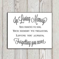 In Memory Quotes Beauteous In Loving Memory Of Print Memorial Table Wedding Memorial Sign
