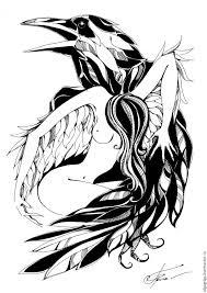 купить графика ангел и ворон покровитель чёрно белый ангел