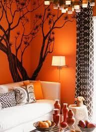 Orange Decor For Living Room Living Room Black Theme Tree Painting Art Decor On Orange