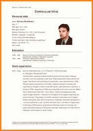 Curriculum Vitae English Sample Resume Template Germany German Cv