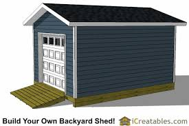 S 12x16 Shed Plans With Garage Door Right Side