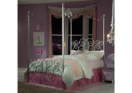 V. Watts Furniture Princess Silver Twin Metal Canopy Bed