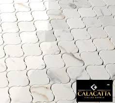 calacatta gold marble polished arabesque mosaic tile