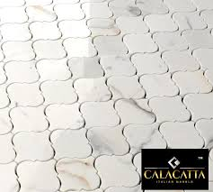 calacatta gold marble polished arabesque mosaic tile