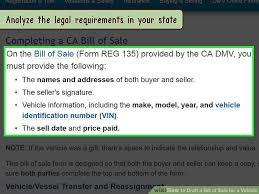 Legal Bill Of Sale How to Draft a Bill of Sale for a Vehicle (with Pictures)