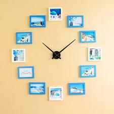 creative big diy wall clock with wooden photo frame