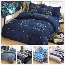 blue soft comfortable kids bedding set 3pcs 4pcs bed linens single twin queen king size