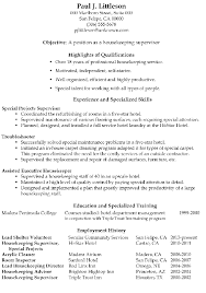 Housekeeping Resume Examples Simple Resume Sample Housekeeping Supervisor