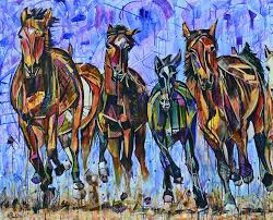 galloping horses painting for of six brown and black wild horses running forward