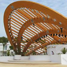 Designs For Glued Trusses Glulam Wooden Truss Framing Commercial Hotel Destino