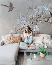 Floral Wallpaper Cement Wall Poster ...
