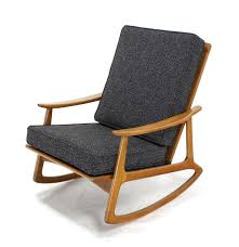 Modern Rocking Chair Danish Modern Rocking Lounge Chair New Upholstery For Sale At 1stdibs