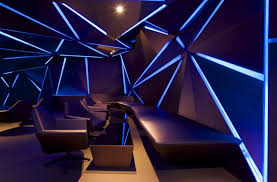 led lighting interior. Lounge Room Interior Design With Blue Led Strip Lights Lighting