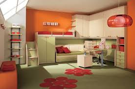 contemporary kids bedroom furniture green. Bright-orange-wall-paint-green-cabinet-and-storage-green -rug-with-red-oranment-with-double-bed-in-contemporary-kids-bedroom | DWEEF. Contemporary Kids Bedroom Furniture Green