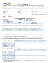 Position Requisition Form Template Personnel Examples Free