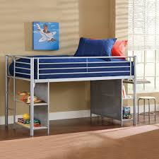 kids junior low twin metal loft bed with desk and shelves
