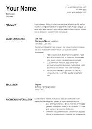 Resume Templates For Free