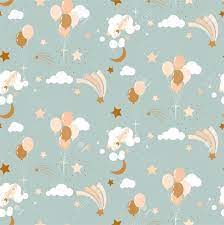 Cute Baby Pattern With Balloons, Clouds ...