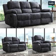 recliner sofa set fabric charcoal grey