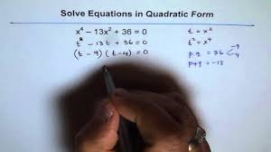solve degree 4 equations in quadratic form