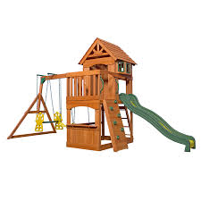 backyard discovery atlantis residential wood playset with swings