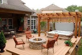 backyard deck hot tub landscaping