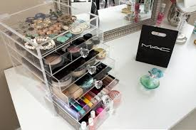 ... Clear Acrylic Makeup Organizer With 5 Drawers Flip Top and Diamond  Handles ...