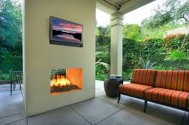 los angeles stucco outdoor fireplace with acrylic outdoor bench cushions patio modern and settee column