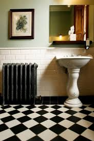 black and white diamond tile floor. White Brick Wall Design With Black And Diamond Victorian Floor Tiles Using Classic Pedestal Sink For Fabulous Bathroom Tile E