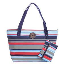 summer beach bags. Modren Bags Stripe Canvas Tote Shoulder Bag Vintage Button Holiday Beach Free Purse Throughout Summer Bags E
