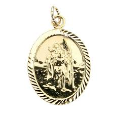 oval 9ct gold st christopher pendant