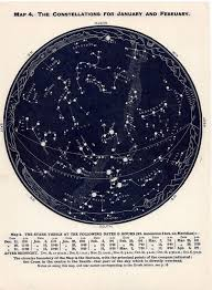 Astronomical Chart Of Stars And Planets C 1955 February March April Star Map Constellations