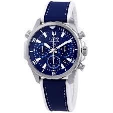 bulova 96b287 men s marine star chronograph leather blue dial