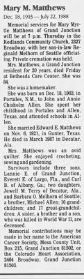 Obituary for Mary Myrtle Matthews, 1903-1988 (Aged 84) - Newspapers.com