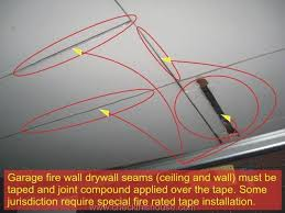 attached garage firewall drywall seams ceiling and wall must be taped and sealed with