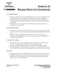 Professional Objective For A Resume Good Sample Career Objective For
