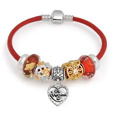 grandma family heart love multi themed bead charm red leather bracelet 925 sterling silver for women