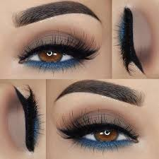smokey light brown grant eye makeup with blue waterline