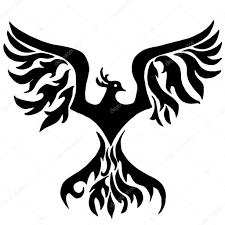 Magický Pták Phoenix Pro Barvení Nebo Tetování Stock Vektor