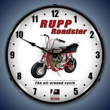 rupp minibike led lighted wall clock 14