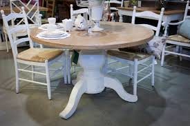 distressed round dining table and chairs