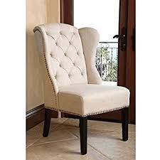Abbyson Living Kyrra Tufted Linen Wingback Dining Chair In Cream  Amazoncom