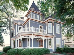 red white and blue victorian style home