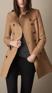 burberry brit short double wool twill trench coat